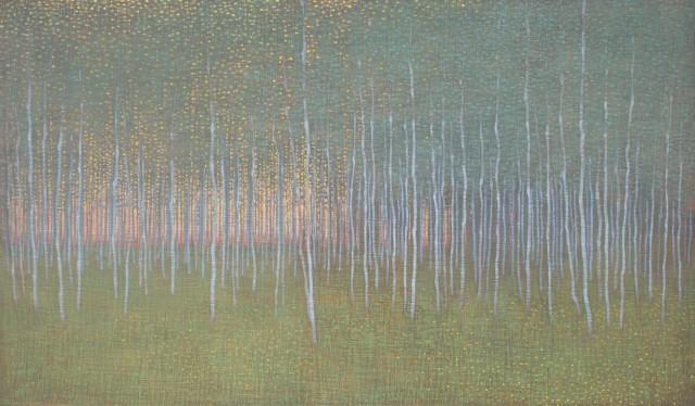 Dusk Through Summer Forest, oil on linen over panel, 20 x 34ins (50.8 x 86.4cm), by David Grossmann