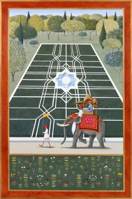 Rebecca Campbell, The Maharajah and the Mahoot, oil on linen, 35.8 x 24ins (91 x 61cm)