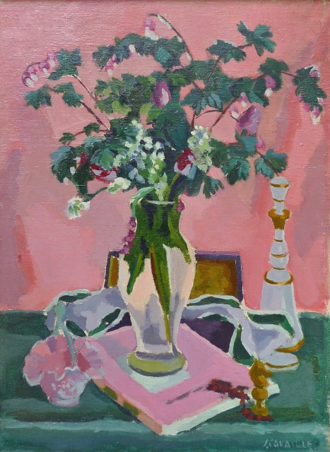 Jules Cavailles, Still life of a glass vase with a decanter and a chess piece.