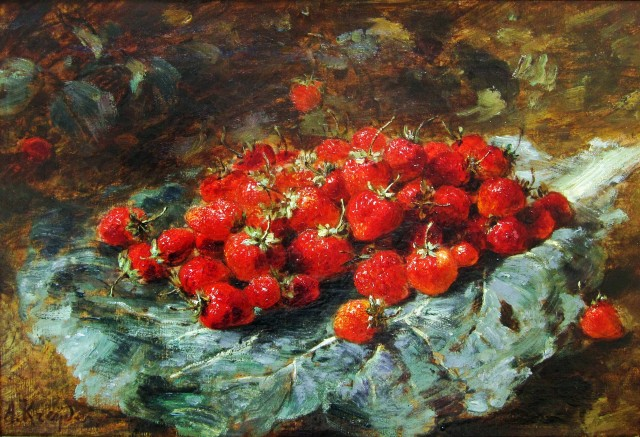 Cherries and Strawberries: A pair of paintings
