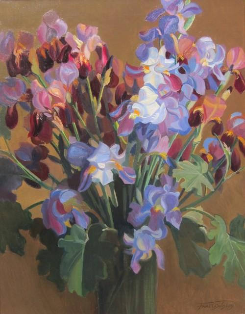 Francis ('Frank') O. Salisbury, Irises in a glass vase