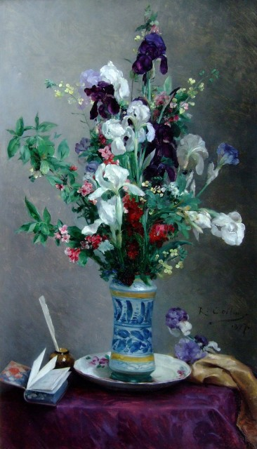 Louis-Joseph Raphael Collin, Mixed flowers in a blue vase