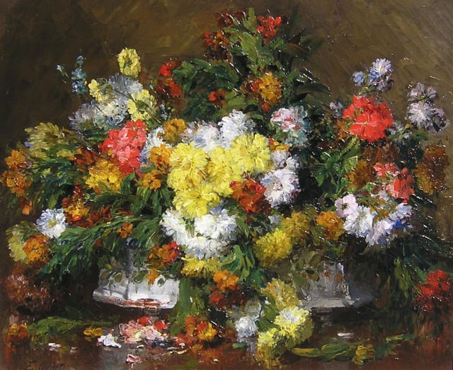 Ernest Quost, Still life of flowers
