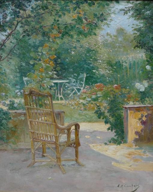 Eugene Henri Cauchois, Morning in the garden , c.1890