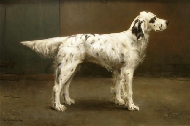 Charles Van Den Eycken , Pair of dog portraits (I of II), 1885
