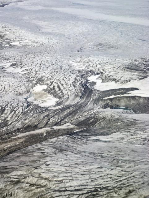 Image from NASA Icebridge Mission depicting melting glaciers
