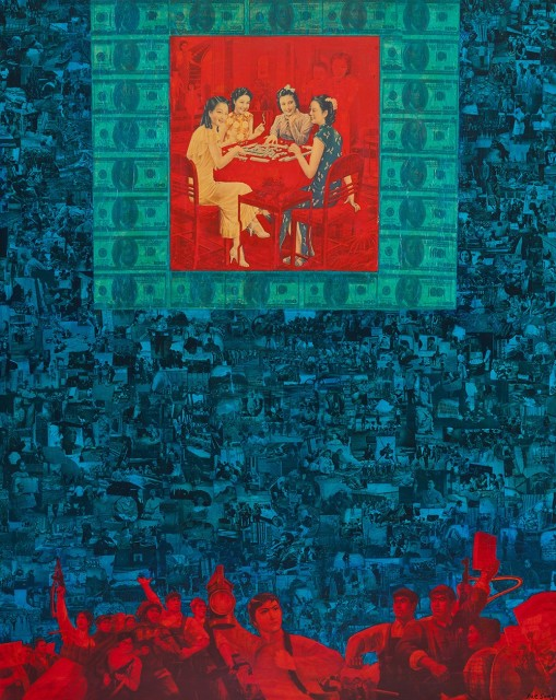Play Mahjong 打麻將 Acrylic on canvas, collage, mixed media 布面丙烯、拼贴、综合材料, 150x120cm, 2018