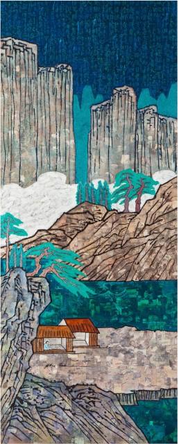 Spring 春 Acrylic on canvas, collage, mixed media 布面丙烯、拼贴、综合材料, 250x100cmx4, 2018