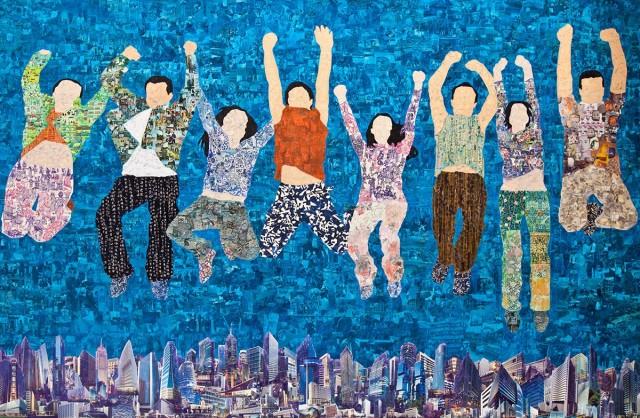 Fly higher 飛得更高 Acrylic on canvas, collage, mixed media 布面丙烯、拼贴、综合材料, 320x210cm, 2013