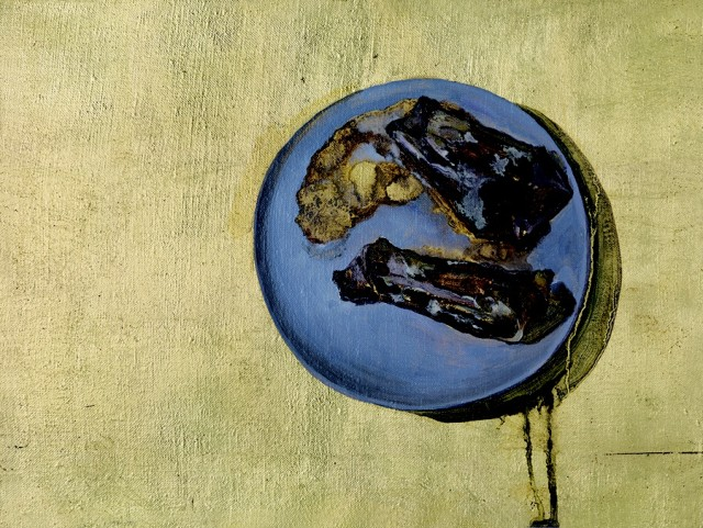 Tian Yuan, Things No.27, Painting in Oil with Gold Leaf, 30 x 40 cm, 2013