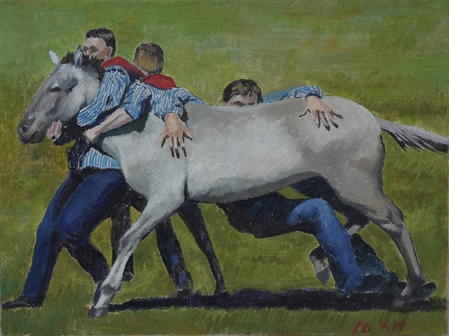 Wu Xihuang, Testament of Horse Abdomen - Taming The Horse, Oil on Canvas, 30 x 40 cm, 2016