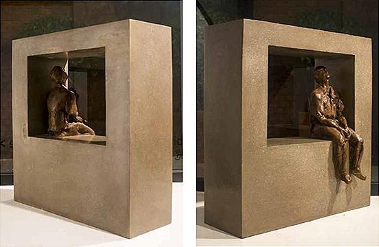Zhang Ning, Boy by the Window - to Sui Changjiang, Bronze, Edition 1 of 7, 53 x 55 x 24 cm, 2012