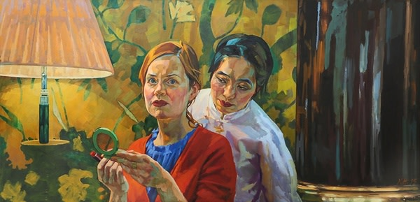 Xenia Hausner, China Club, Oil on Paper on Dibond, 135 x 280 cm, 2015