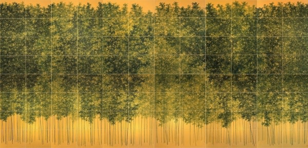 Koon Wai-bong, Luxuriant Greenery, Colour on Gold Cardboard, Polyptych with Ninety-Six Panels, 35 x 50 cm each panel, 280 x 600 cm in total, 2014