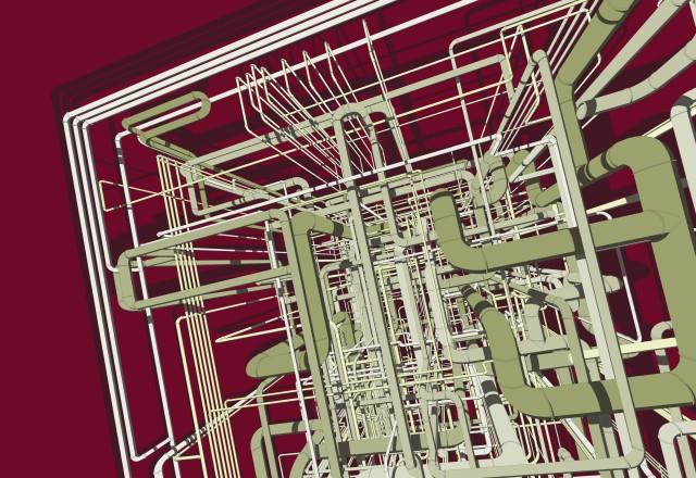 Pompidou II, Aluminum Composite Panel, Digital Illustration (Mixed Media), 59.4 x 84.1 cm