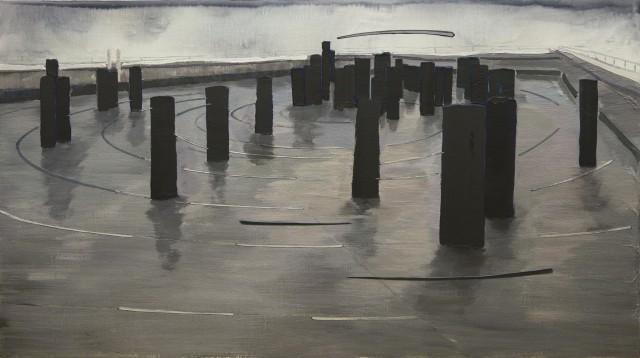 李易纹,轨迹,布面丙烯,80 x 100 cm,2015