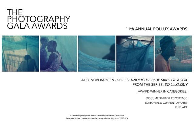 亞歷克·馮·巴根榮獲2018年Photography Gala Awards之第十一屆年度Pollux獎項