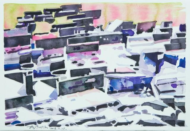 Li Yiwen 李易纹 Congregation-2,Watercolor on Paper 纸本水彩 36X54cm, 2018
