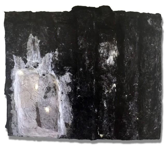 在家里,2015 宣紙、水墨、畫板、燈 42 x 52 x 6 cm
