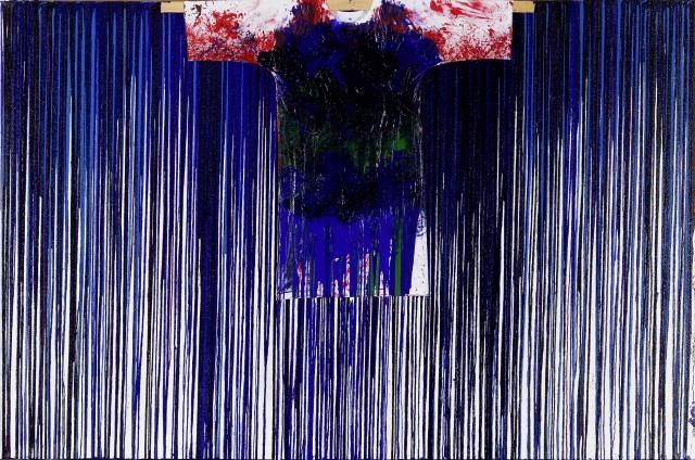 Hermann Nitsch, Schüttbild mit Malhemd, 2011, Acrylic on canvas, 200 x 300 cm
