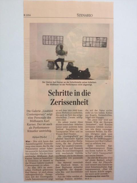 Karl Karner - Schritte der Zerissenheit - Der Standard Artikel, Oktober 2014