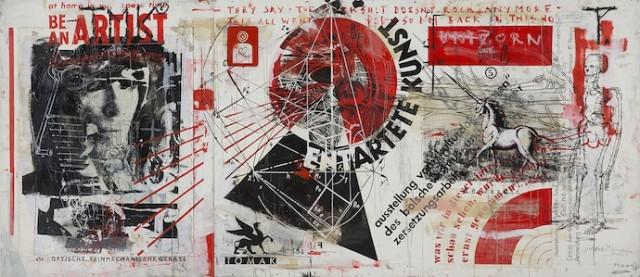 TOMAK 'UNIZORN – ENTARTETE KUNST' (Öl/Acryl auf Holz), 350 x 150 cm, 2014. Foto: Alek Kawka