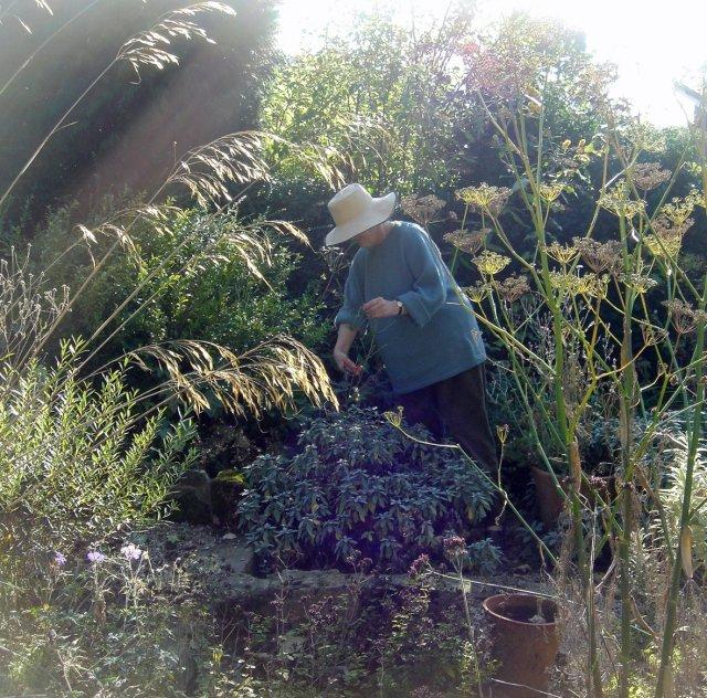 Anna Pugh in her garden