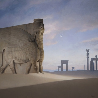 Guillermo Muñoz Vera, Lamassu, 2013, oil on canvas mounted on panel, 59 x 59 inches