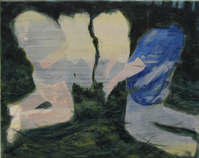This abstract painting is depicting two headless people holding two mysterious figures almost as if they are giving them to each other. The colors used are beige, gray, pink, blue and green and appear muted.