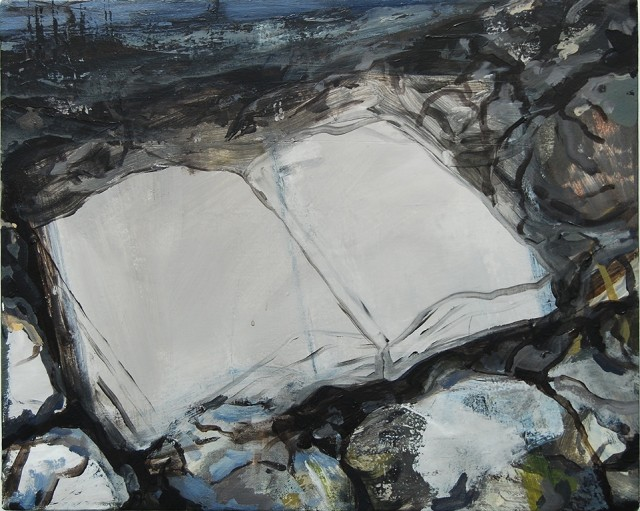 This abstract painting is depicting an empty open book surrounded by rocks near a creak. The colors used are gray, blue, white and green.