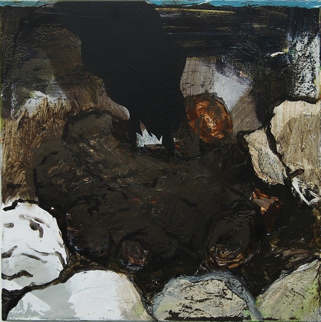 This slightly abstract painting depicting a creek with a centered space of dirt surrounded by rocks. The colors used are brown, gray, blue, green, white and black.