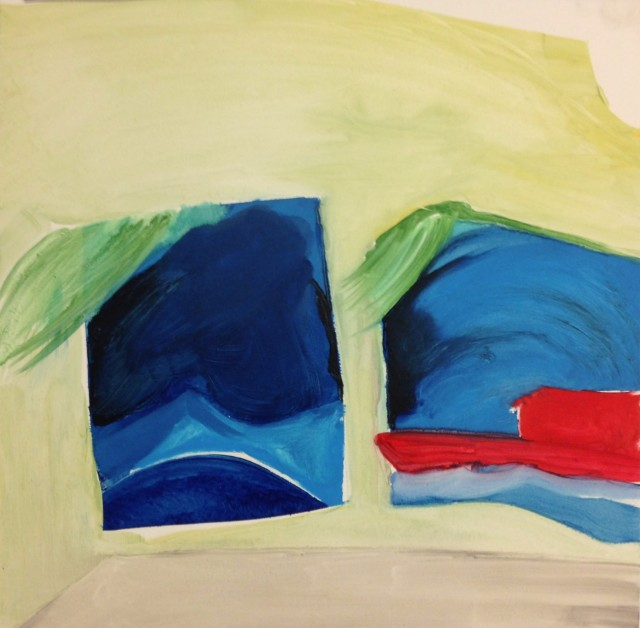 The shapes in this abstract painting could be resembling windows where the ocean is outside with a boat. The color used are beige, blue, green, red and gray.