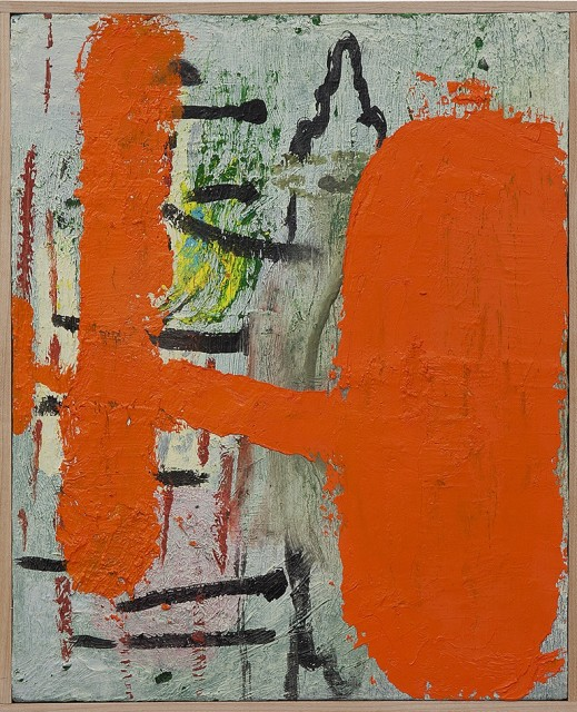 This painting has a layer of gray shading and black lines that is overlapped by a layer of orange paint. The is also shadings of yellow, blue, green and red.