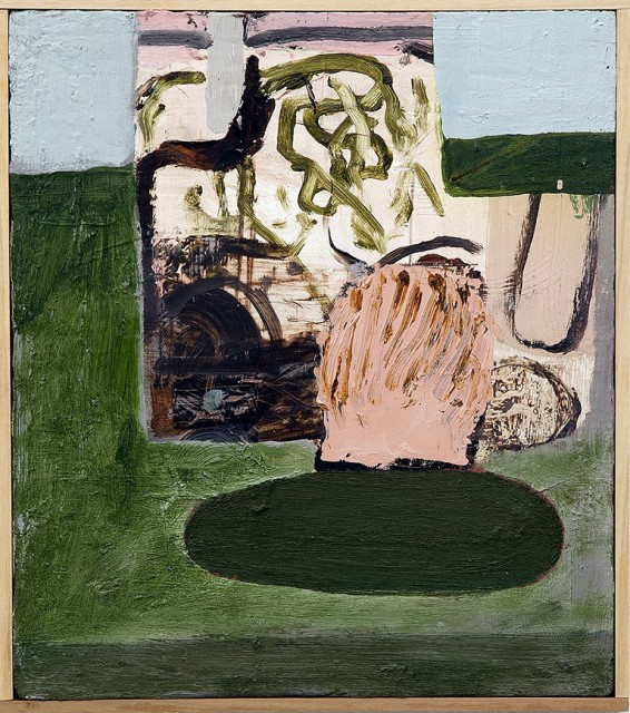 This painting appears to depict an abstract still life of objects on a table. The colors used are green, peach, white, black, beige and pink.