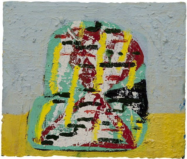 This painting depicts an abstract object on a simple table. The fact that it is more abstract leaves what the object is up to interpretation. The colors used are gray, red, green, yellow and black.