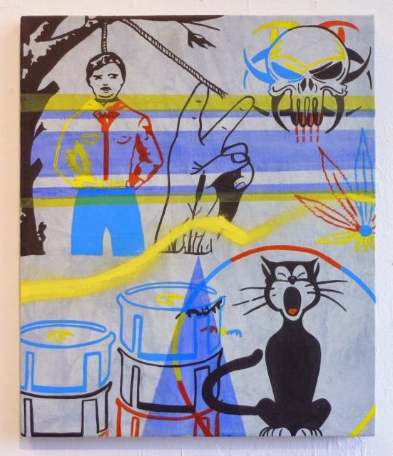 Michael Leon, Ántrax Cartel, 2014  Acrylic and Spray Paint on Indigo Dyed Canvas, 24 x 20 in.  leon002