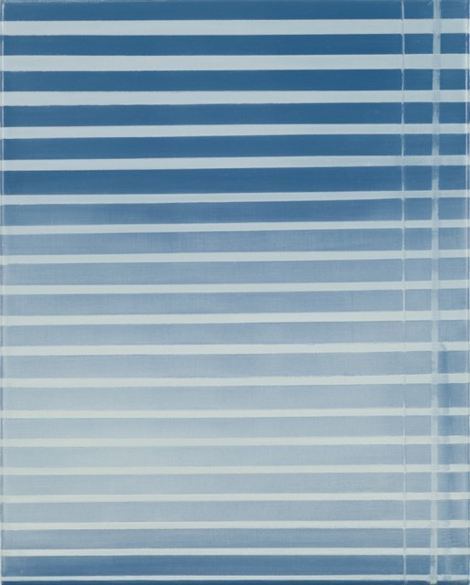 This painting appears to depict blinds for a window as shown by the handle on the right. It is done in shades of blue, gray and white.