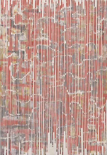 This work has a layer of abstract design textures that is overlapped by another texture that gives it a faded effect. The colors used are red, beige, gray and yellow.