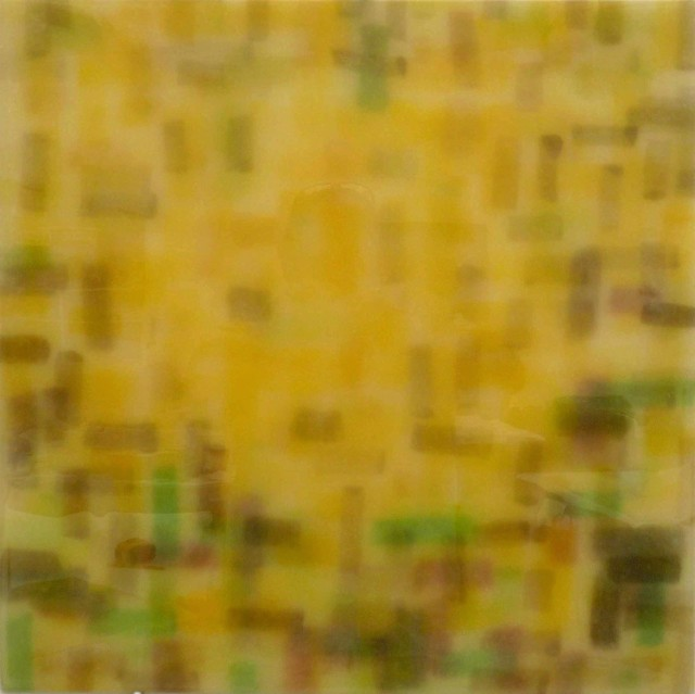 This artwork appears to be done with mixed media and is a texture pattern but another layer is slightly seen behind the bolder texture. The colors used are yellow, green and brown.