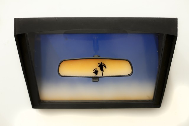 <p><strong>Nick Doyle</strong></p><p><em>Rearview</em>, 2013</p><p>Lexan, plywood, spray paint, and rearview mirror</p><p>20 x 13 x 11 in.</p>