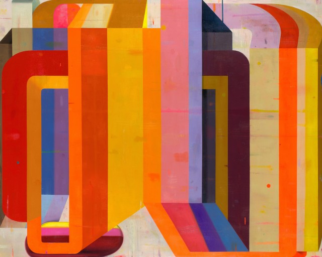 """Deborah Zlotsky's """"I could drink a case of you"""" oil on canvas in shades of red, orange, yellow, purple, ochre, and pink.  The use of darker and lighter colors creates the illusion of depth, so the right side of the painting recedes behind the left."""