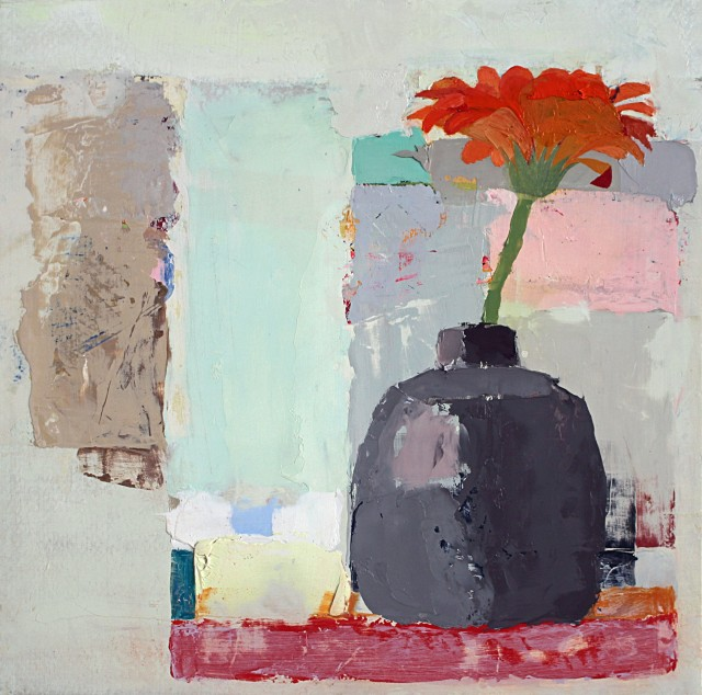 """Sydney Licht's """"Still Life with Red Flower"""" oil painting on panel in various shades of red, gray, light blue, pink and tan. The still life depicts a large flower in a vase in a setting of muted colored walls. The flower in the foreground has more detail."""