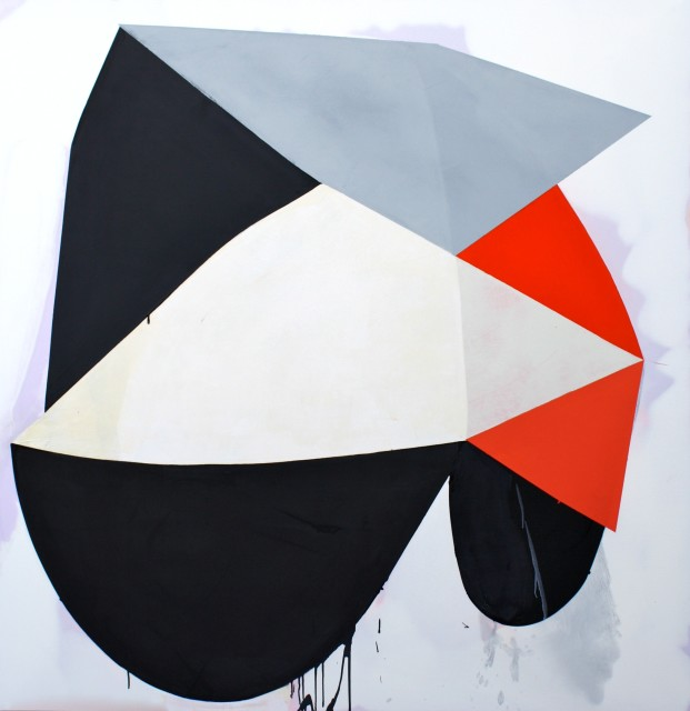 "Marcelyn McNeil's ""Shifting Ground"" oil painting on canvas. The painting is of different shapes in flat colors of red, gray and black. The shapes which are of positive space blends in with the negative space as the faded background color can still be seen"
