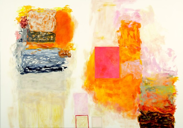 """Rocio Rodriguez's """"Days Debris"""" oil on canvas in various shades of pink, orange, gray and black. There are abstract designs spread throughout the painting with a flat pink colored square in the near center giving it more of a foreground."""