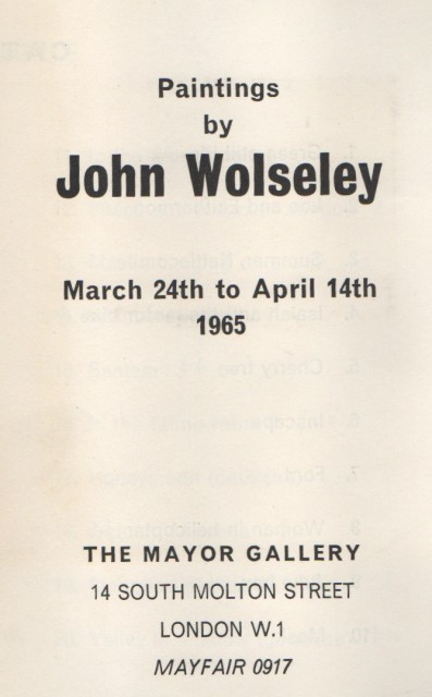 JOHN WOLSELEY, Paintings