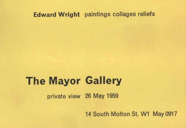 EDWARD WRIGHT , Paintings, Collages, Reliefs