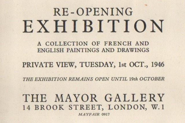 RE-OPENING EXHIBITION, A Collection of French and English Paintings and Drawings