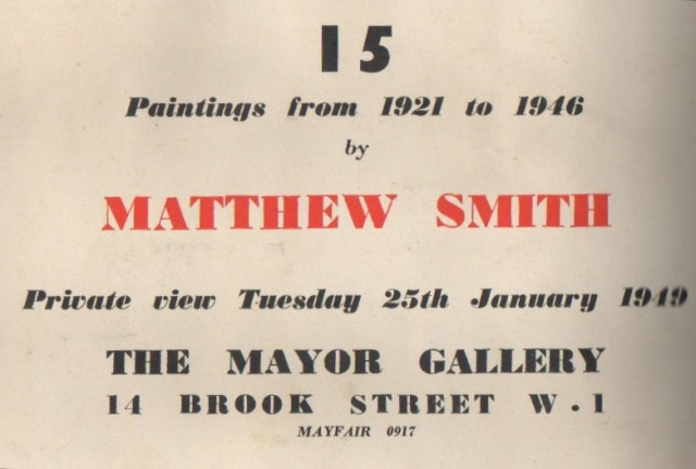 MATTHEW SMITH, 15 Paintings from 1921 to 1946