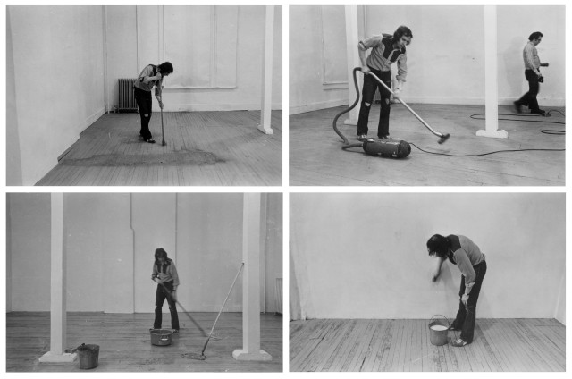 BILLY APPLE, Four Activities: Mopping, Sweeping, Vacuuming, Washing, 20 March 1971, 1971 Black and white photograph, 4 parts 15.5 x 24 cm 6 ⅛ x 9 ½ inches Each