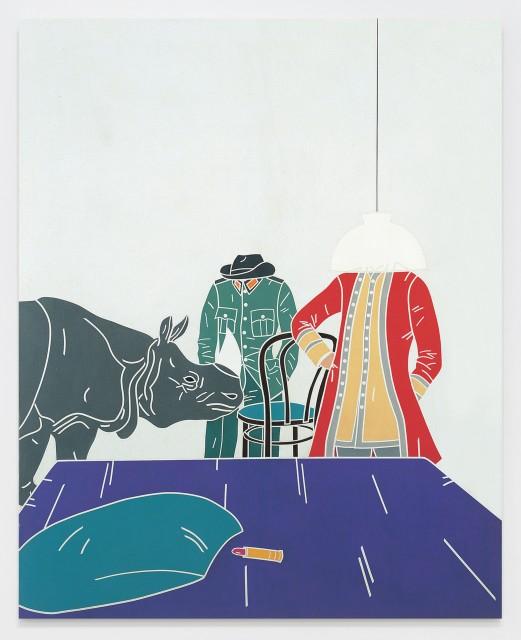 Vita di Voltaire. Interno / Voltaire Life. Internal 1968 Acrylic on canvas 63 3/4 x 51 1/8 inches (162 x 130 cm)